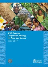 WHO Country Cooperation Strategy for American Samoa 2013-2017