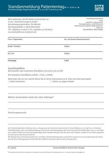 Standanmeldung Patiententag.117. DGIM 2011. - Die m:con Welt