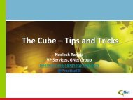 The Cube – Tips and Tricks - Microsoft BI User Group