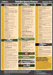 TattsBet Sports Fixtures January 2013