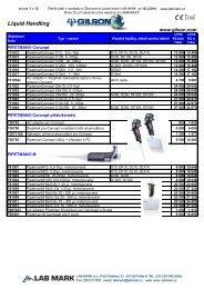 Ceník produktů Gilson (626,7 kB; formát PDF) - LAB MARK
