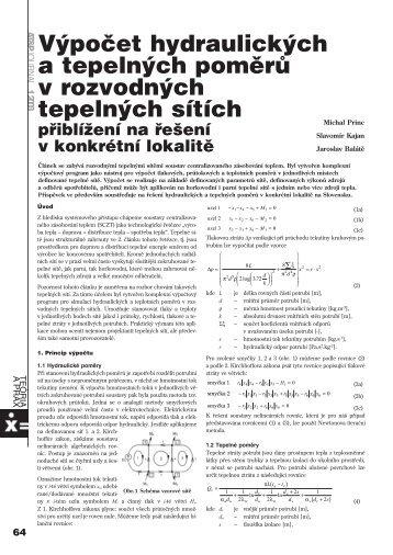 Výpočet hydraulických a tepelných poměrů v ... - ATP Journal