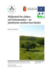 Miljöstöd för slåtter- och betesmarker – en jämförelse mellan fem ...