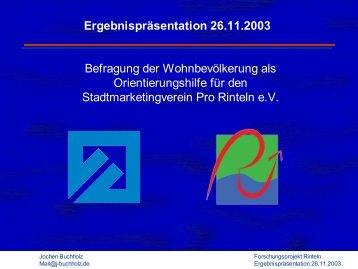 Ergebnispräsentation 26.11.2003 Befragung der ... - Draisinen