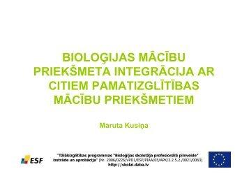 bioloģijas mācību priekšmeta integrācija ar citiem pamatizglītības ...