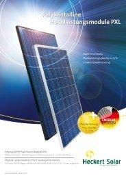 Polykristalline Hochleistungsmodule PXL - McCormick Solar GmbH