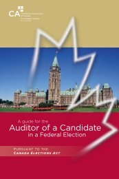 Auditor of a Candidate - Canadian Institute of Chartered Accountants