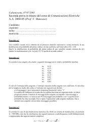 Seconda prova in itinere del corso di Comunicazioni ... - imdea