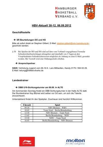 HBV-Aktuell 30-12, 06.09.2012 - Hamburger Basketball-Verband