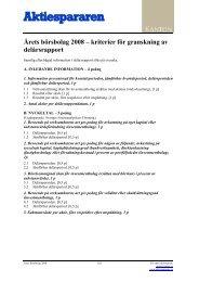 Kriterier för granskning av delårsrapport - Aktiespararna