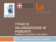 I piani di valorizzazione in piemonte - Centro Risorse Beni Culturali