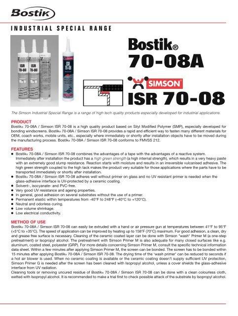 70-08A ISR 70-08 - Bostik, Inc