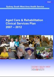 Aged Care & Rehabilitation Clinical Services Plan 2007 – 2012