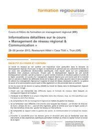 Informations détaillées sur le cours « Management de ... - Regiosuisse