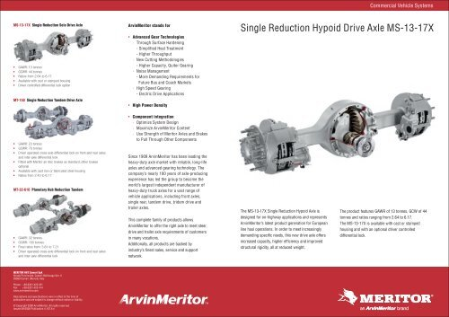 Single Reduction Hypoid Drive Axle MS-13-17X - Meritor