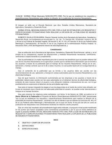 10-04-96 NORMA Oficial Mexicana NOM-053-FITO-1995 ... - Senasica
