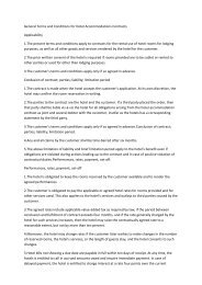 General Terms and Conditions for Hotel Accommodations Contracts ...