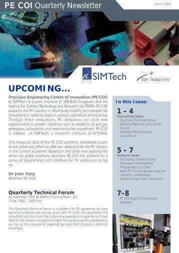 PE COI Newsletter - Singapore Institute of Manufacturing ...