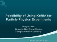 Possibility of Using KoRIA for Particle Physics Experiments - KIAS