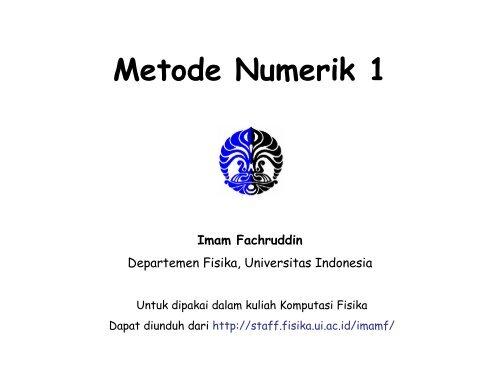 Metode Numerik 1 - Universitas Indonesia