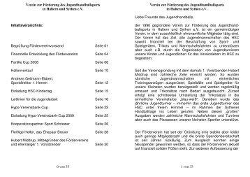 Magazin Förderverein - HSC Haltern-Sythen 1992 e. V.