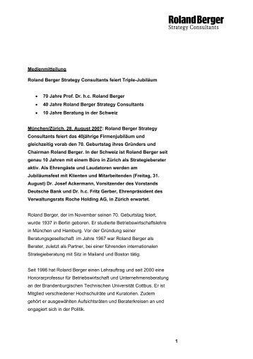 Roland Berger Strategy Consultants feiert Triple-Jubiläum