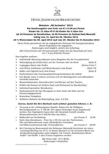 6.6 Heiraten All Inclusive 2012 - Hotel Jagdschloss Kranichstein