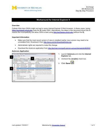 Workaround for Internet Explorer 9