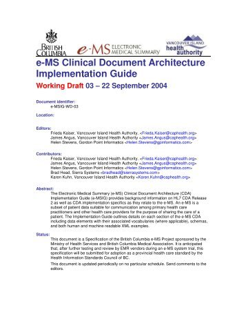 e-MS Clinical Document Architecture Implementation Guide - HL7