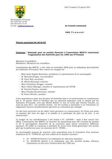 Préavis 2010/02 Demande pour un soutien financier à l ... - Yvonand