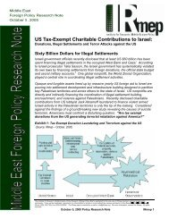 US Tax-Exempt Charitable Contributions to Israel: - IRmep
