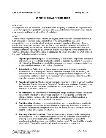 policy 24 whistleblower protection