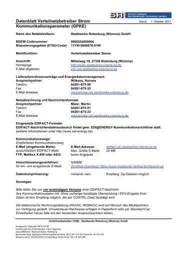 EDIFACT-Parameter SR komplett Internet - Stadtwerke Rotenburg