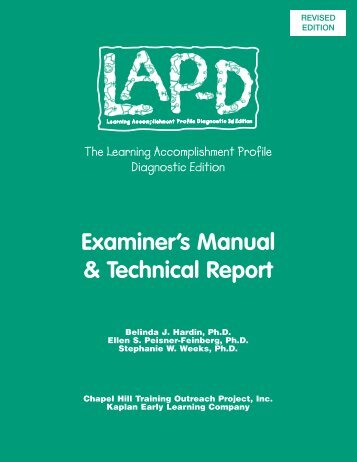 Examiner's Manual & Technical Report - Kaplanco.com