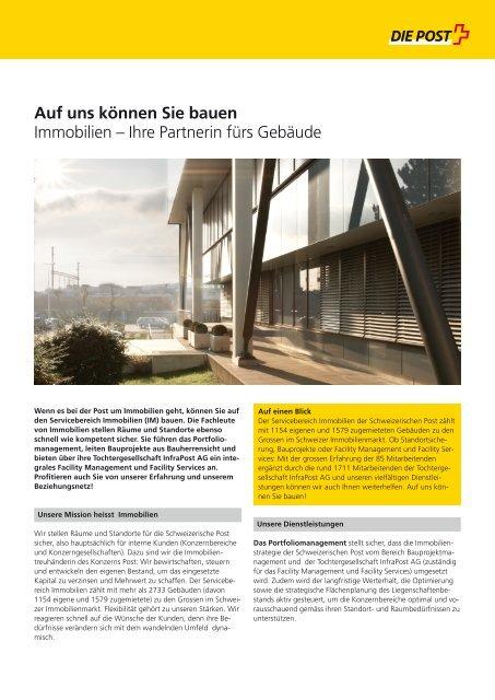 Auf uns können Sie bauen Immobilien - Die Schweizerische Post
