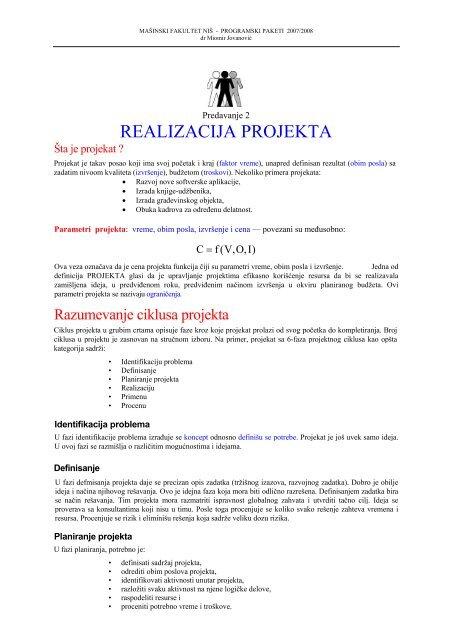 Predavanje - 2 Realizacija projekta