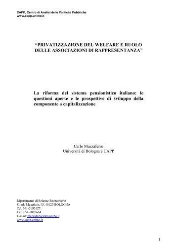 """""""PRIVATIZZAZIONE DEL WELFARE E RUOLO DELLE ..."""