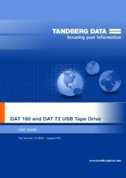 Tandberg Data DAT72 and DAT160 USB tape drives user guide