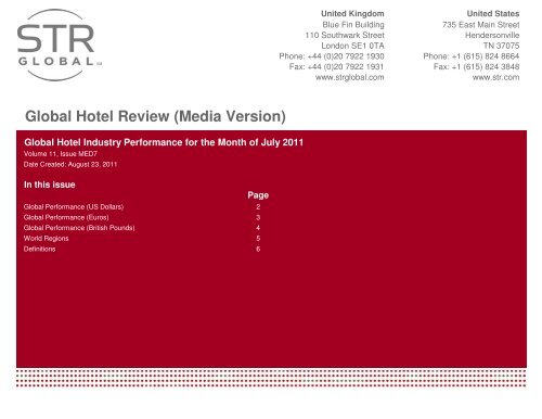 View Global hotel review for July 2011. - Hotel News Now