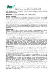 Sujet de stage Master 2-Recherche (2007/2008) - Site Master CHM&IE