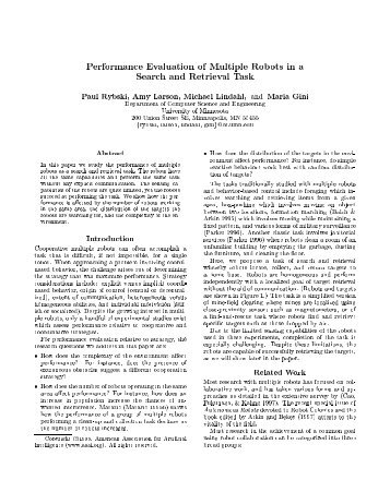 Performance Evaluation of Multiple Robots in a Search and ... - ISL
