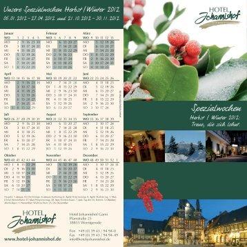 Flyer Spezialwochen 2012 - Hotel Johannishof Garni