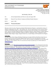 Memo to Incoming Residents and Fellows 2009 - University of ...