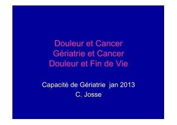 Dr C Josse Douleur et Cancer - PIRG