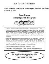Transitional Kindergarten Program - Bellflower Unified School District