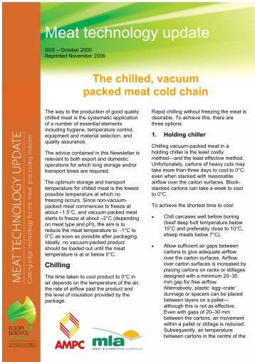 The chilled, vacuum-packed meat cold chain - Red Meat Innovation