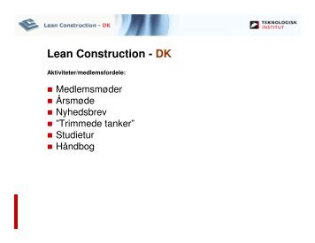 Danske Ark - Ulrik Dybro - Arkitema - Lean Construction