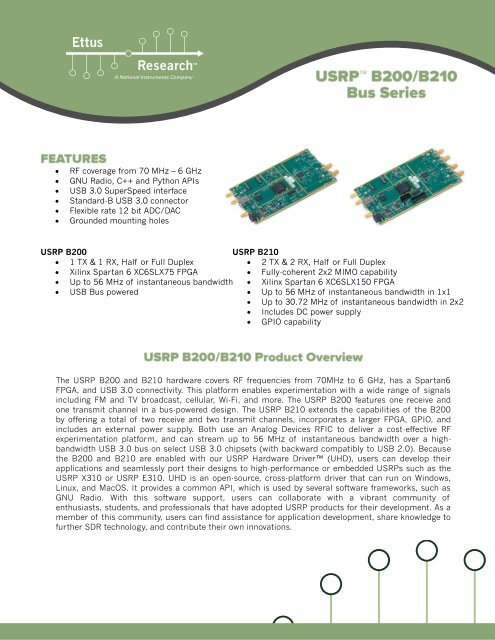 USRP B200/B210 Specification Sheet - Ettus Research