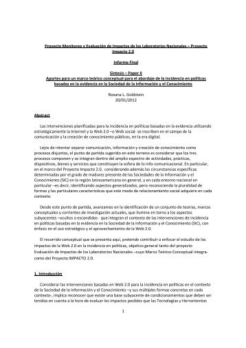 Marco Teórico Conceptual para Monitoreo y ... - Impacto 2.0