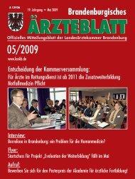 Brandenburgisches Ärzteblatt 05/2009 - Landesärztekammer ...